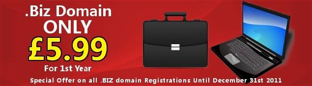 Special Offer .Biz Domain Registration Only £5.99