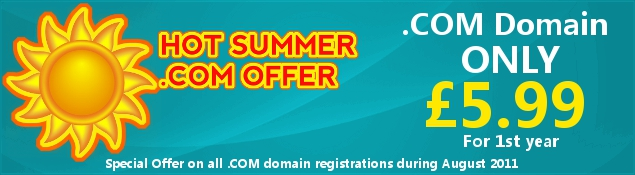 Special Offer – .COM Domain Registration only £5.99