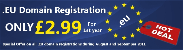 Special Offer – .EU Domain Registration only £2.99