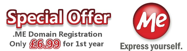 Special Offer .ME Domain Registration Only £6.99