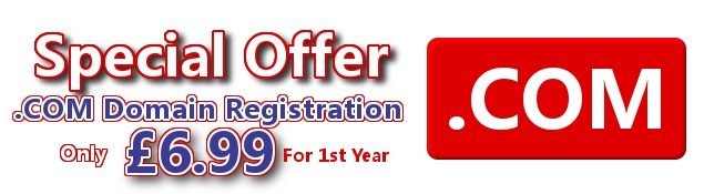Special Offer .COM Domain Registration Only £6.99