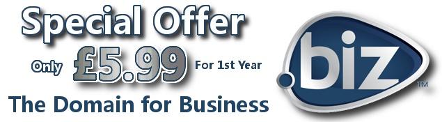 Domain Registration Offer .Biz Domains Only £5.99
