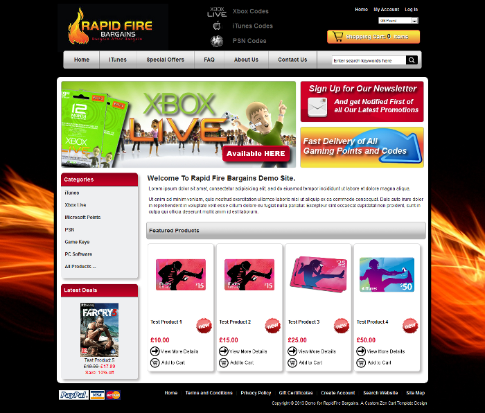 eShop In A Box website for Rapid Fire Bargains