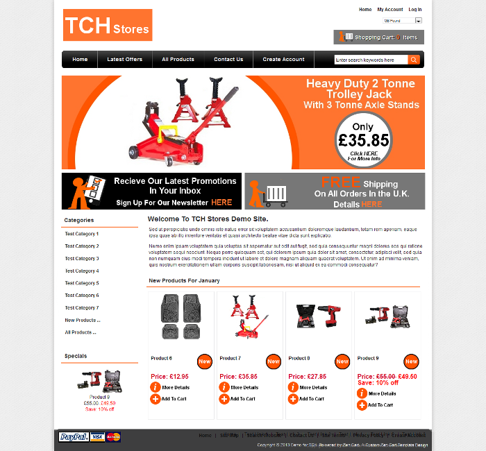 eShop In A Box custom ecommerce website for TCH Stores