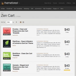 Zen Cart templates on themeforest